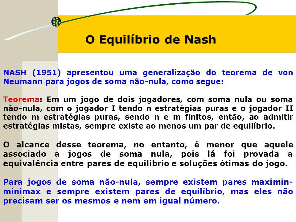 O Equilíbrio de Nash NASH (1951) apresentou uma generalização do teorema de von Neumann para jogos de soma não-nula, como segue: