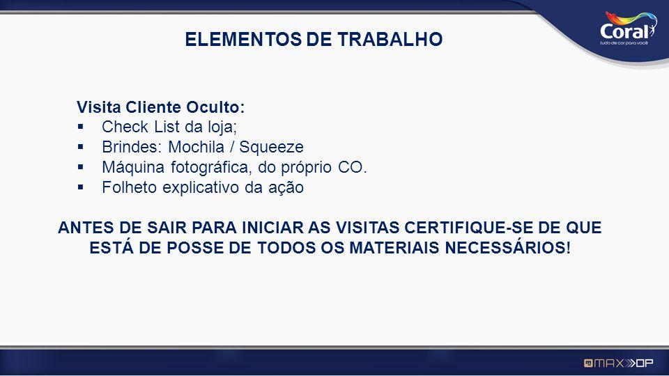ELEMENTOS DE TRABALHO Visita Cliente Oculto: Check List da loja;