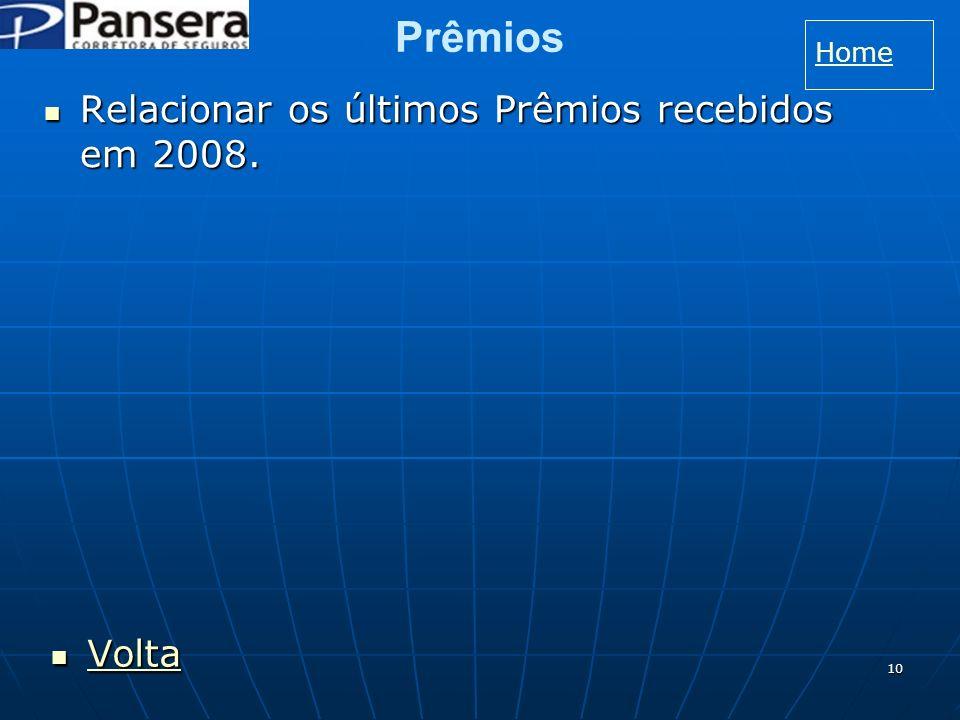 Prêmios Home Relacionar os últimos Prêmios recebidos em 2008. Volta