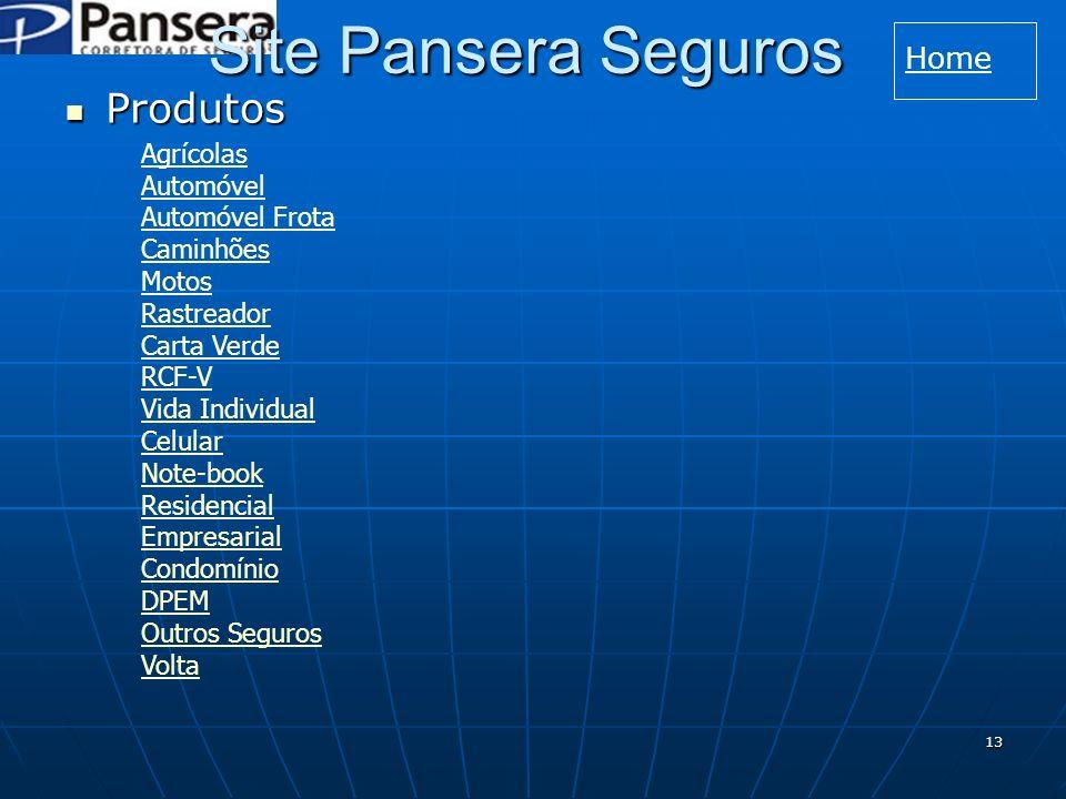 Site Pansera Seguros Produtos Home Agrícolas Automóvel Automóvel Frota