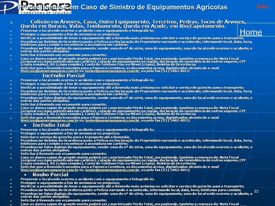 Procedimentos em Caso de Sinistro de Equipamentos Agrícolas