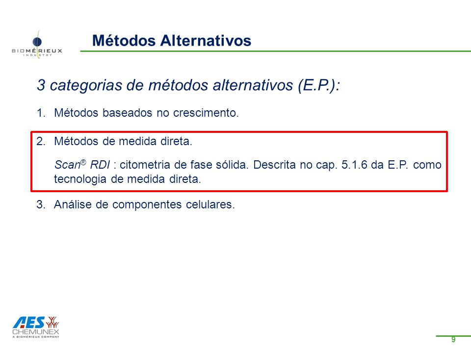 3 categorias de métodos alternativos (E.P.):