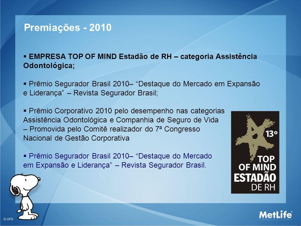 Premiações - 2010 EMPRESA TOP OF MIND Estadão de RH – categoria Assistência. Odontológica;