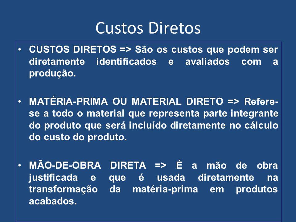 Custos Diretos CUSTOS DIRETOS => São os custos que podem ser diretamente identificados e avaliados com a produção.