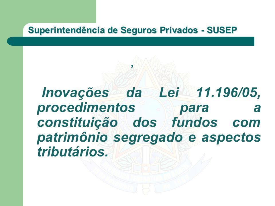 , Inovações da Lei 11.196/05, procedimentos para a constituição dos fundos com patrimônio segregado e aspectos tributários.