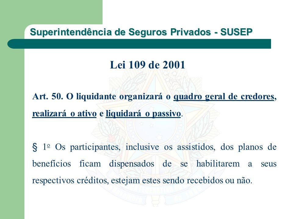 Lei 109 de 2001 Art. 50. O liquidante organizará o quadro geral de credores, realizará o ativo e liquidará o passivo.