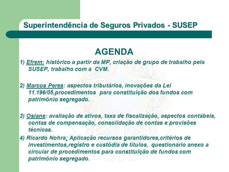 AGENDA 1) Efrem: histórico a partir da MP, criação de grupo de trabalho pela SUSEP, trabalho com a CVM.