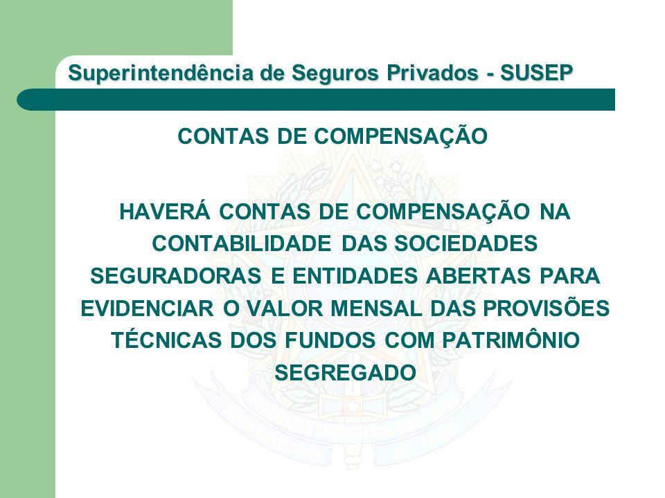 CONTAS DE COMPENSAÇÃO HAVERÁ CONTAS DE COMPENSAÇÃO NA CONTABILIDADE DAS SOCIEDADES SEGURADORAS E ENTIDADES ABERTAS PARA EVIDENCIAR O VALOR MENSAL DAS PROVISÕES TÉCNICAS DOS FUNDOS COM PATRIMÔNIO SEGREGADO
