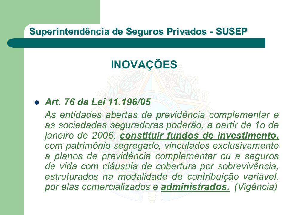 INOVAÇÕES Art. 76 da Lei 11.196/05.