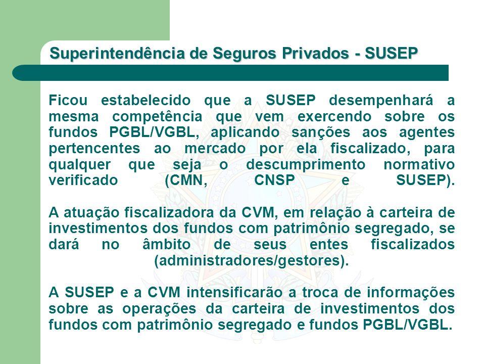 Ficou estabelecido que a SUSEP desempenhará a mesma competência que vem exercendo sobre os fundos PGBL/VGBL, aplicando sanções aos agentes pertencentes ao mercado por ela fiscalizado, para qualquer que seja o descumprimento normativo verificado (CMN, CNSP e SUSEP).
