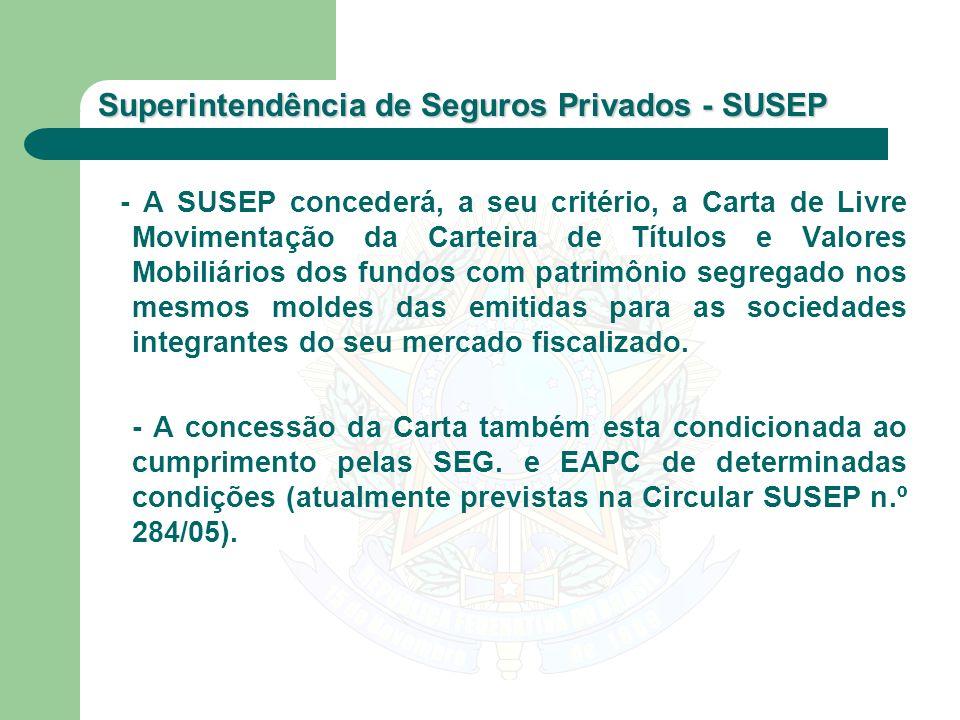 - A SUSEP concederá, a seu critério, a Carta de Livre Movimentação da Carteira de Títulos e Valores Mobiliários dos fundos com patrimônio segregado nos mesmos moldes das emitidas para as sociedades integrantes do seu mercado fiscalizado.