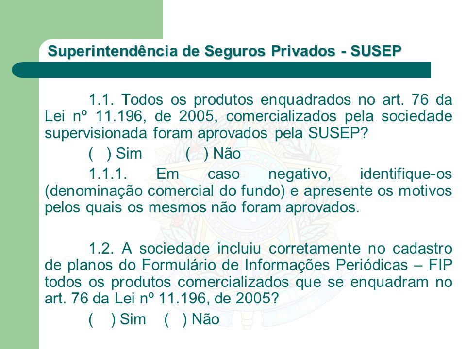1. 1. Todos os produtos enquadrados no art. 76 da Lei nº 11