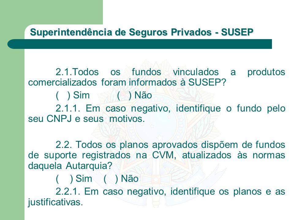 2.1.Todos os fundos vinculados a produtos comercializados foram informados à SUSEP