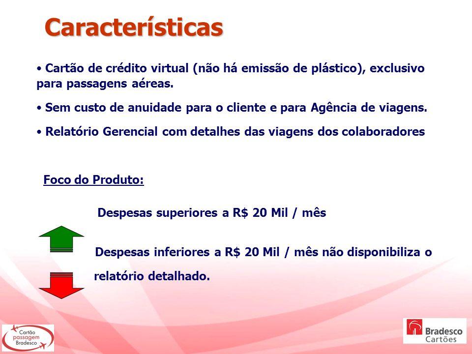 Características Cartão de crédito virtual (não há emissão de plástico), exclusivo para passagens aéreas.