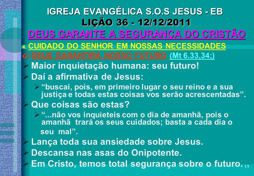 Maior inquietação humana: seu futuro! Daí a afirmativa de Jesus: