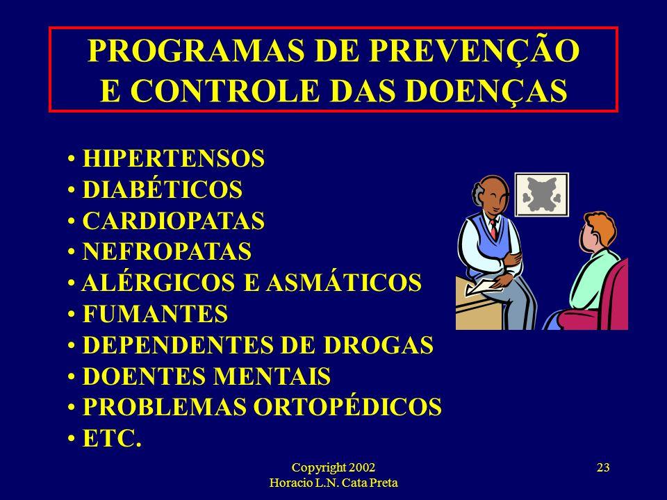 PROGRAMAS DE PREVENÇÃO E CONTROLE DAS DOENÇAS