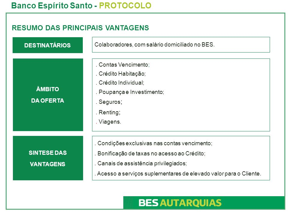 Banco Espírito Santo - PROTOCOLO
