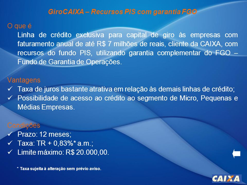 GiroCAIXA – Recursos PIS com garantia FGO