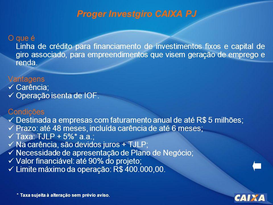 Proger Investgiro CAIXA PJ