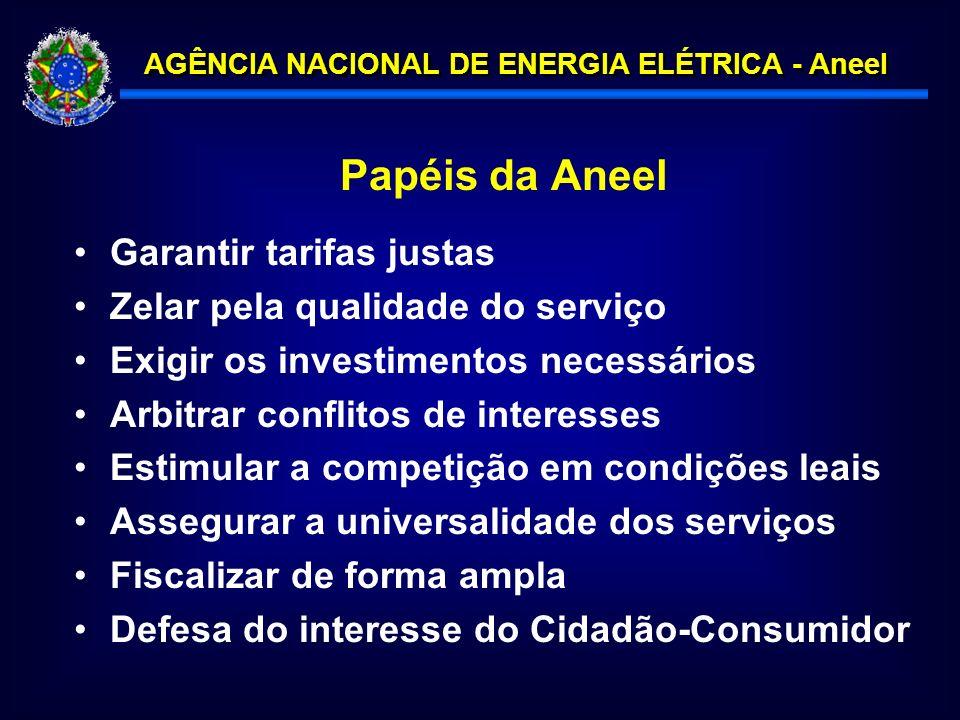 Papéis da Aneel Garantir tarifas justas