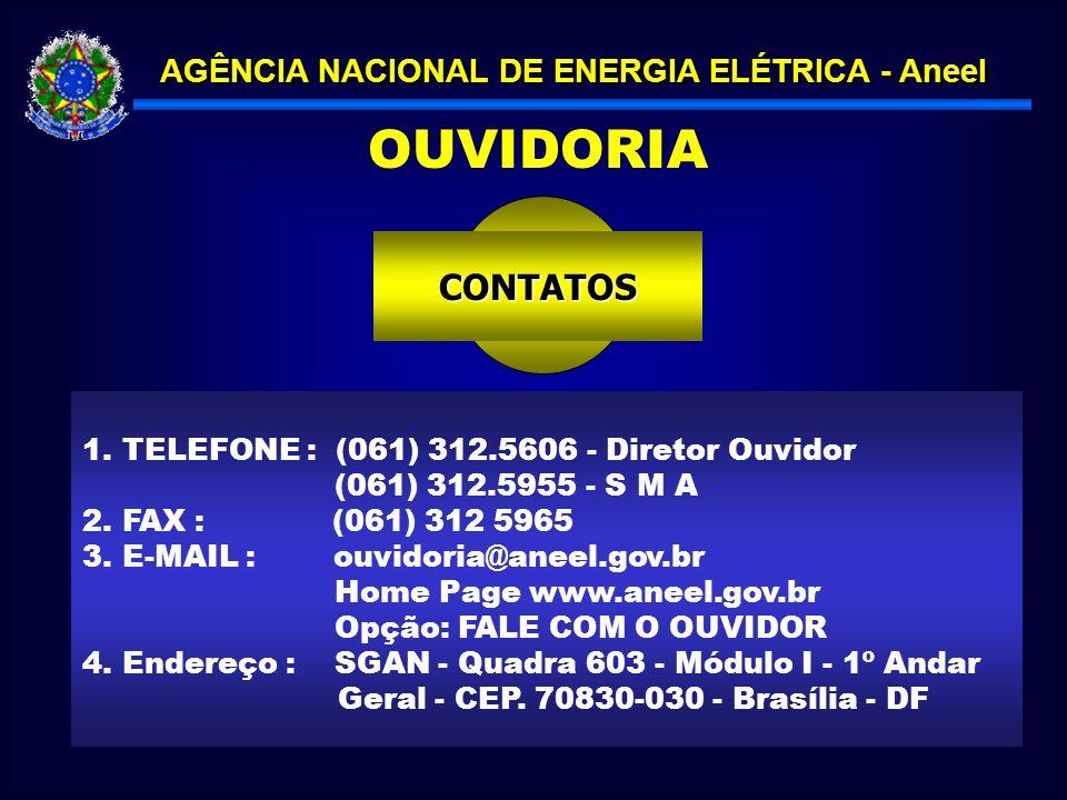 OUVIDORIA CONTATOS . TELEFONE : (061) 312.5606 - Diretor Ouvidor