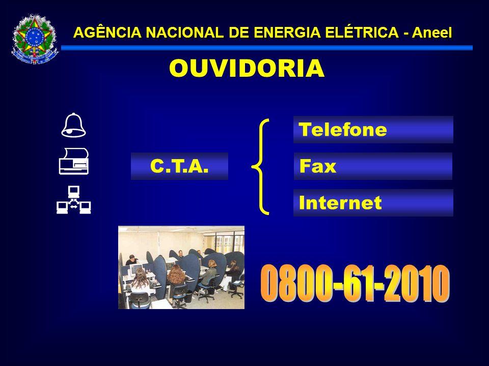 OUVIDORIA Telefone Internet Fax    C.T.A. 0800-61-2010