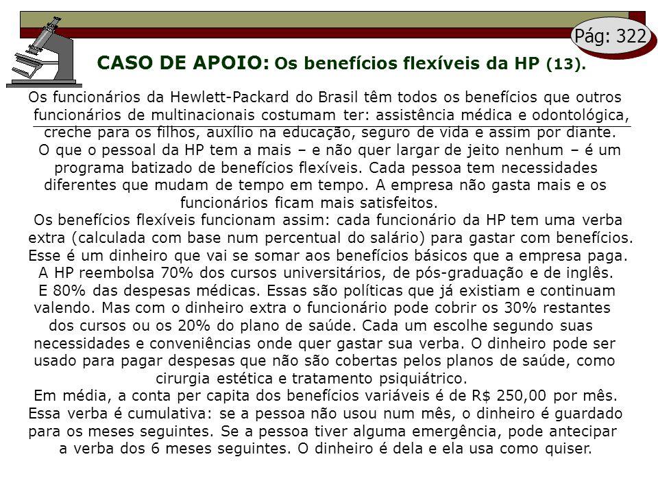 Pág: 322 CASO DE APOIO: Os benefícios flexíveis da HP (13). Os funcionários da Hewlett-Packard do Brasil têm todos os benefícios que outros.