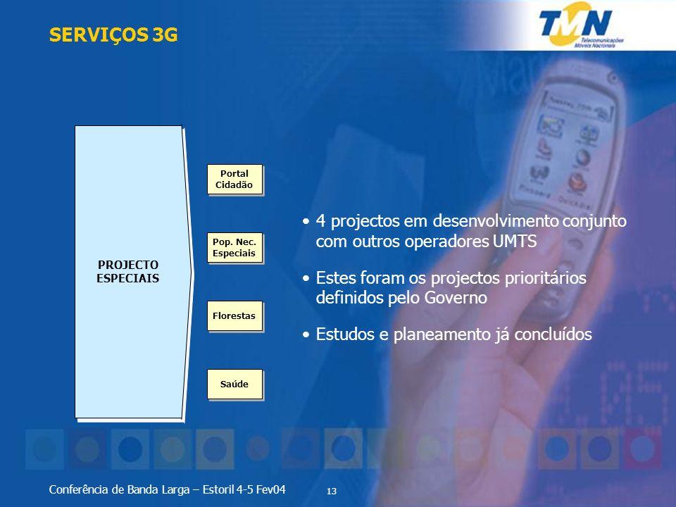 SERVIÇOS 3G PROJECTO ESPECIAIS. 4 projectos em desenvolvimento conjunto com outros operadores UMTS.