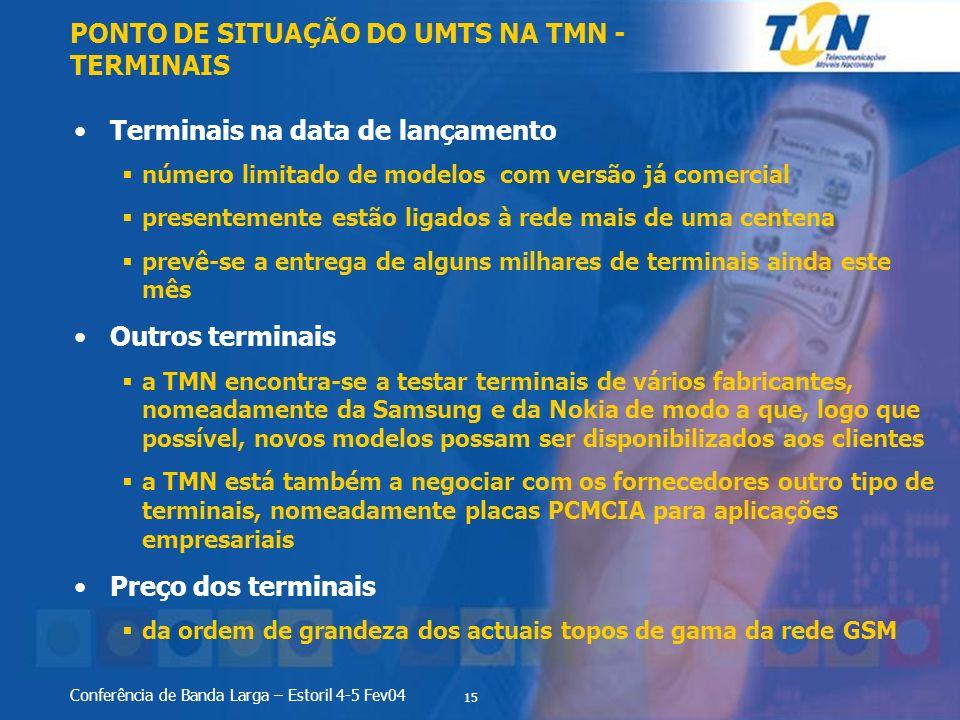 PONTO DE SITUAÇÃO DO UMTS NA TMN - TERMINAIS