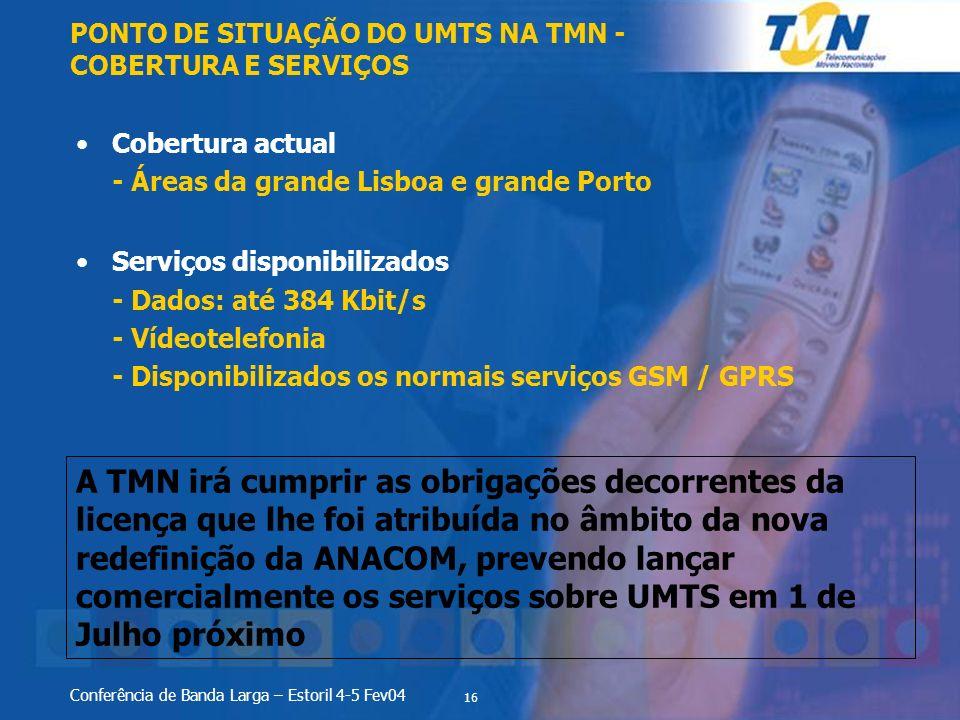 PONTO DE SITUAÇÃO DO UMTS NA TMN - COBERTURA E SERVIÇOS