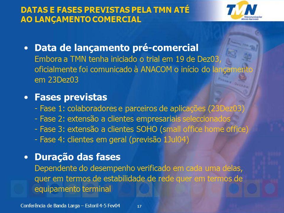 DATAS E FASES PREVISTAS PELA TMN ATÉ AO LANÇAMENTO COMERCIAL