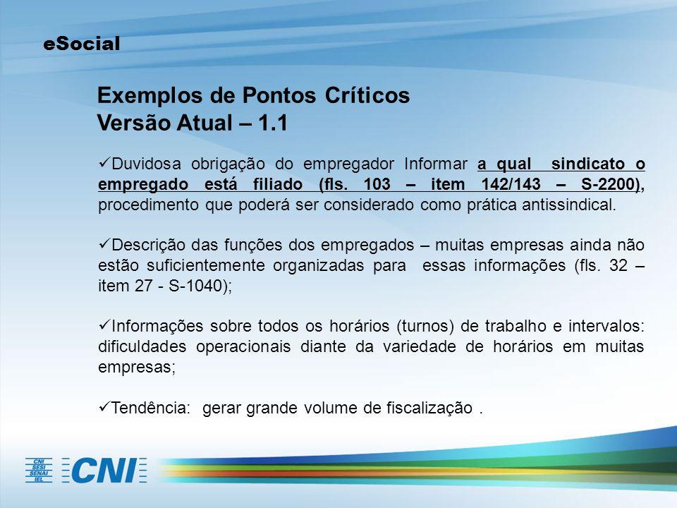 Exemplos de Pontos Críticos Versão Atual – 1.1