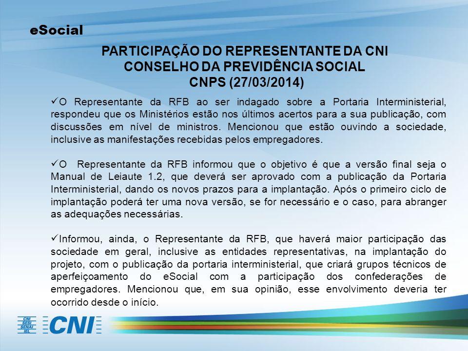 PARTICIPAÇÃO DO REPRESENTANTE DA CNI CONSELHO DA PREVIDÊNCIA SOCIAL