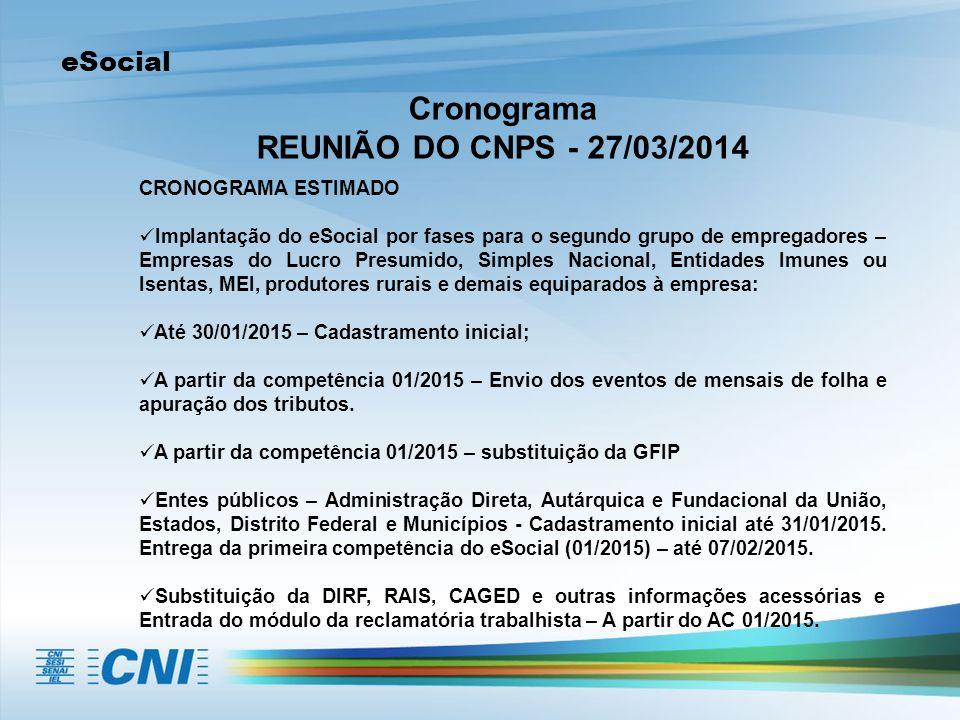 Cronograma REUNIÃO DO CNPS - 27/03/2014