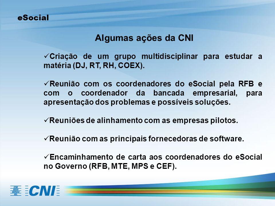 Algumas ações da CNI eSocial