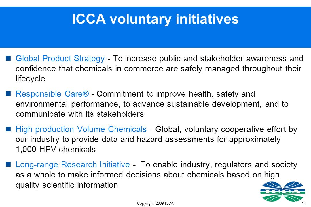 ICCA voluntary initiatives