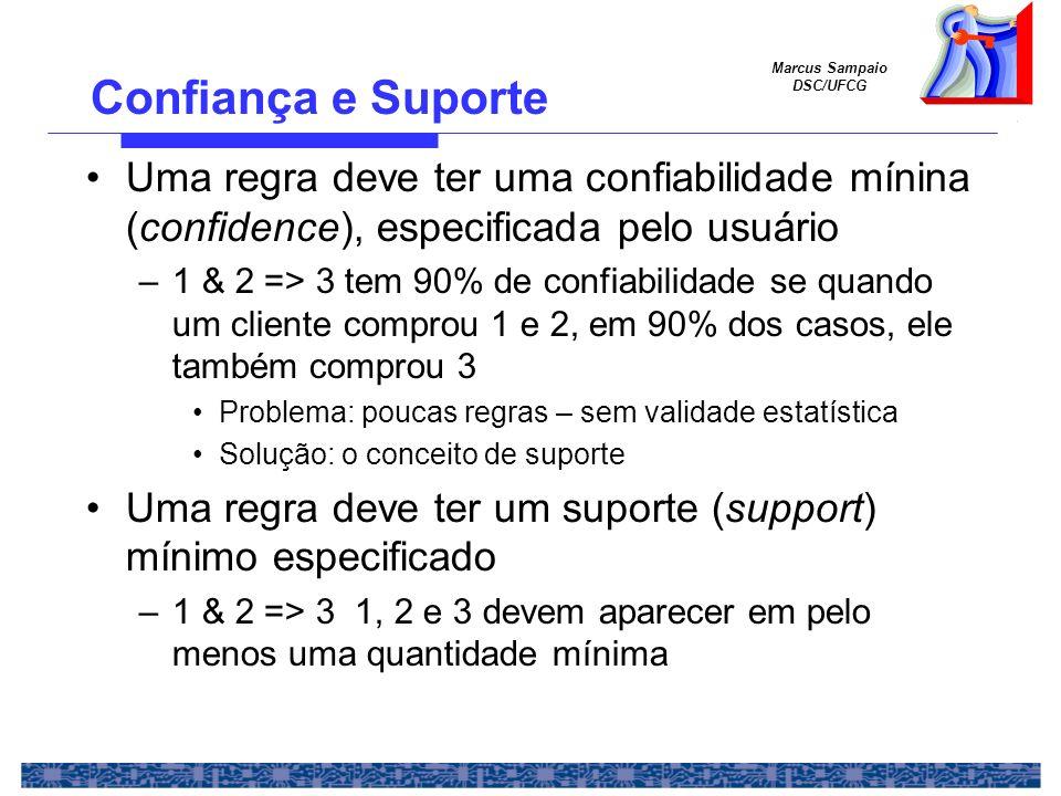 Confiança e Suporte Uma regra deve ter uma confiabilidade mínina (confidence), especificada pelo usuário.