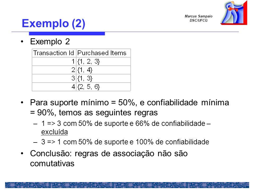 Exemplo (2) Exemplo 2. Para suporte mínimo = 50%, e confiabilidade mínima = 90%, temos as seguintes regras.