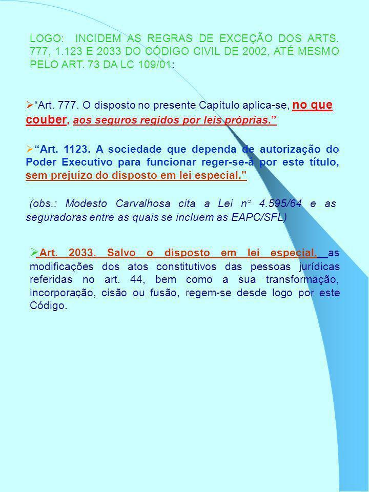 LOGO: INCIDEM AS REGRAS DE EXCEÇÃO DOS ARTS. 777, 1