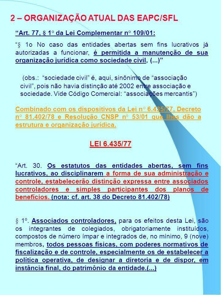 2 – ORGANIZAÇÃO ATUAL DAS EAPC/SFL