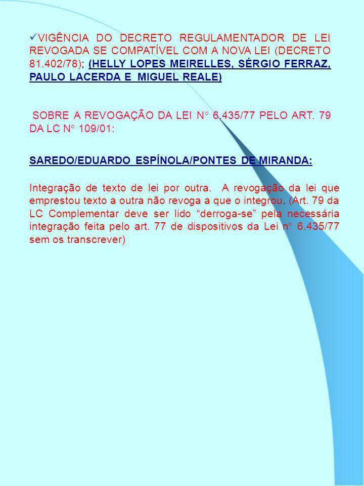 VIGÊNCIA DO DECRETO REGULAMENTADOR DE LEI REVOGADA SE COMPATÍVEL COM A NOVA LEI (DECRETO 81.402/78); (HELLY LOPES MEIRELLES, SÉRGIO FERRAZ, PAULO LACERDA E MIGUEL REALE)