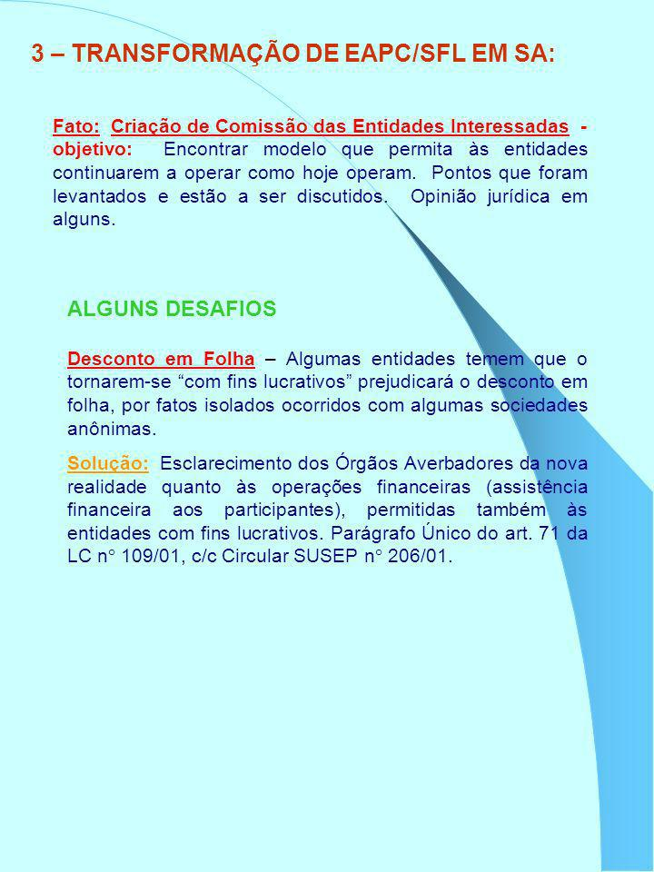 3 – TRANSFORMAÇÃO DE EAPC/SFL EM SA: