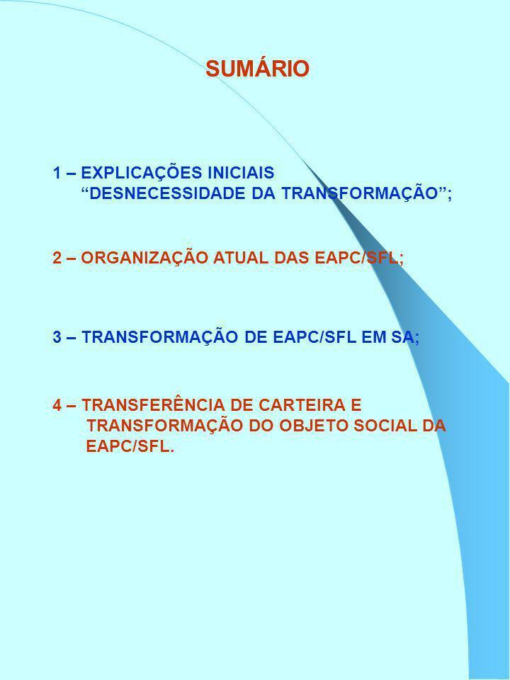 SUMÁRIO 1 – EXPLICAÇÕES INICIAIS DESNECESSIDADE DA TRANSFORMAÇÃO ;