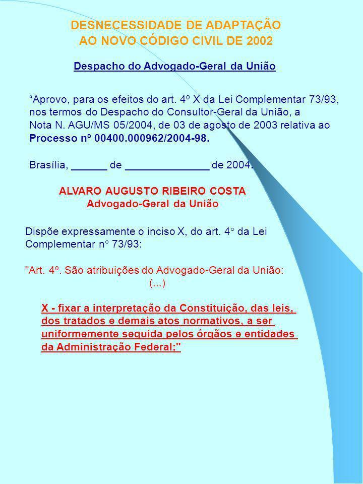 DESNECESSIDADE DE ADAPTAÇÃO AO NOVO CÓDIGO CIVIL DE 2002