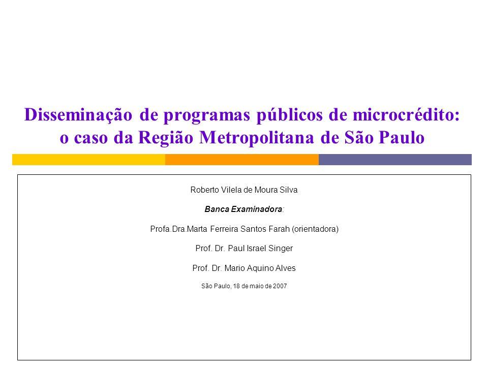 Disseminação de programas públicos de microcrédito: o caso da Região Metropolitana de São Paulo