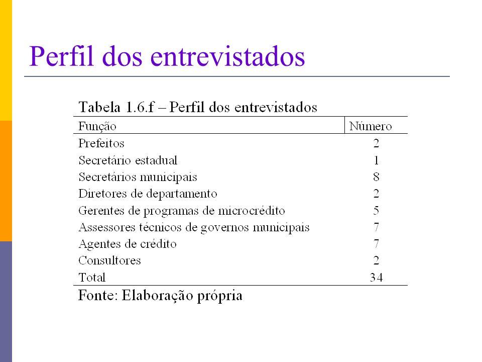 Perfil dos entrevistados