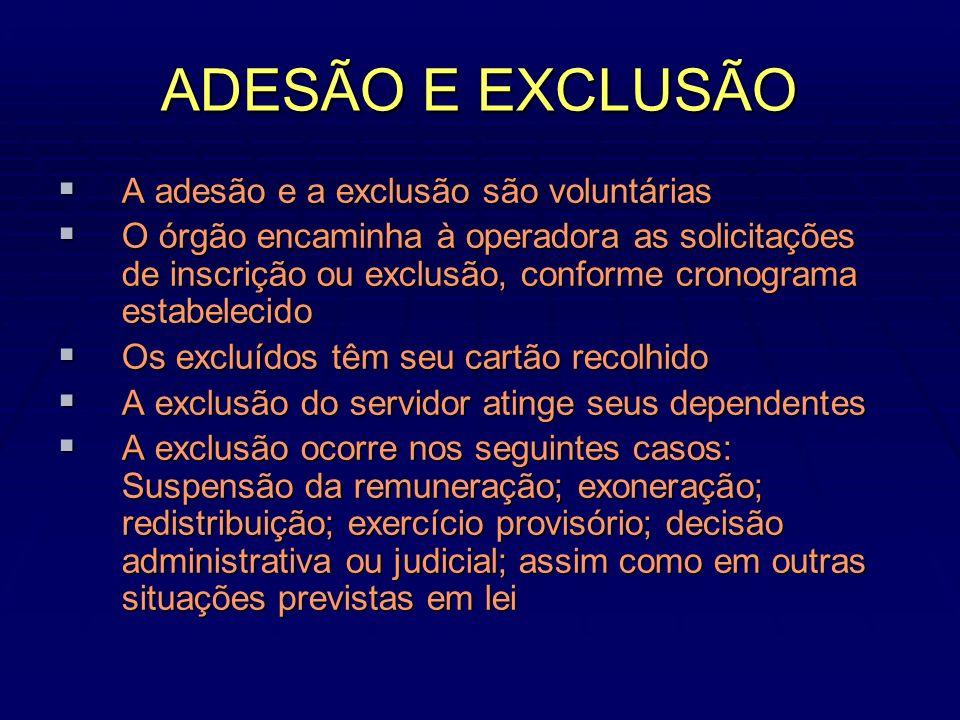 ADESÃO E EXCLUSÃO A adesão e a exclusão são voluntárias