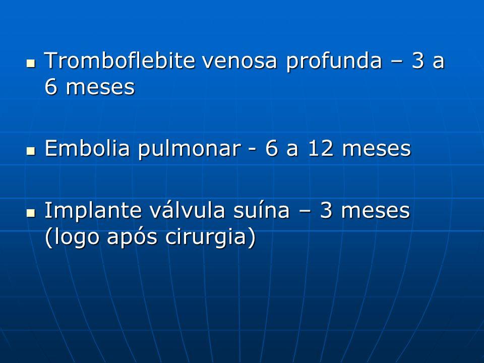 Tromboflebite venosa profunda – 3 a 6 meses