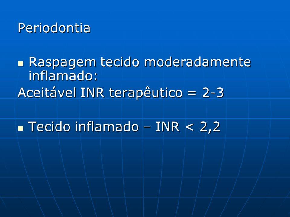 Periodontia Raspagem tecido moderadamente inflamado: Aceitável INR terapêutico = 2-3.