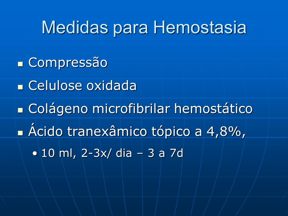 Medidas para Hemostasia